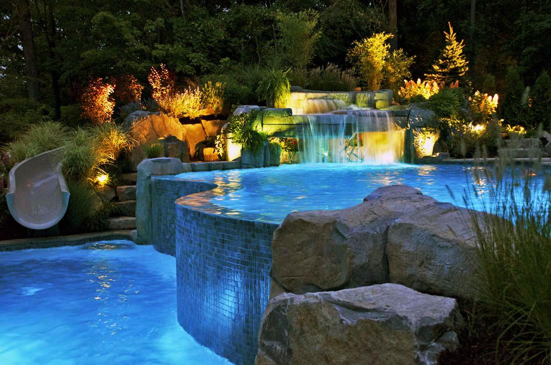 Дизайны водопадов и бассейнов